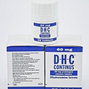 Dihydrocodeine Continus 60mg Napp Pharms is used for the treatment of: Migraine Headaches Sciatica Osteoarthritis Rheumatoid Arthritis Nerve Pain Post-operative Pain 56 Tablets in one box