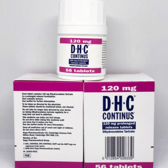 Dihydrocodeine 120mg Napp Pharms is used for the treatment of: Migraine Headaches Sciatica Osteoarthritis Rheumatoid Arthritis Nerve Pain Post-operative Pain 56 Tablets in one box
